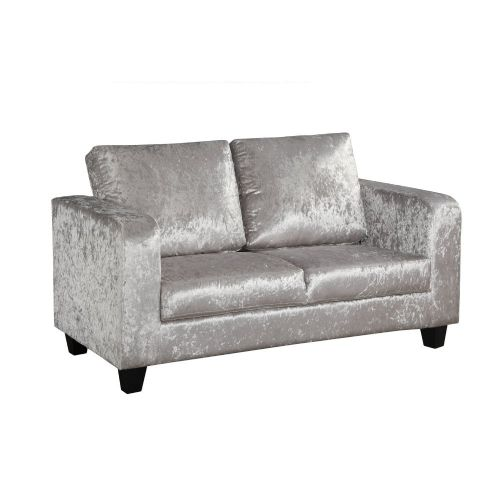 AXE 156 Crushed Velvet Silver Box  Sofa From Denelli